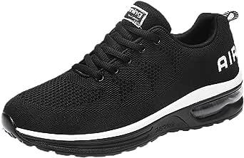 COOLIY Unisex Hombre Mujer Zapatillas de Gimnasia con Cordones Hombre Zapatillas de Correr Ligeras Shock Absortion Zapatos de Paseo Casual Transpirables para Exterior Negro 39: Amazon.es: Ropa y accesorios