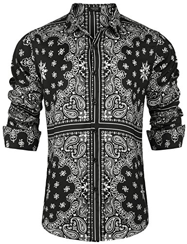COOFANDY Mens Paisley Shirt Long Sleeve Loose Fit Casual Stylish Hip Hop Button Down Shirts,Black,Large