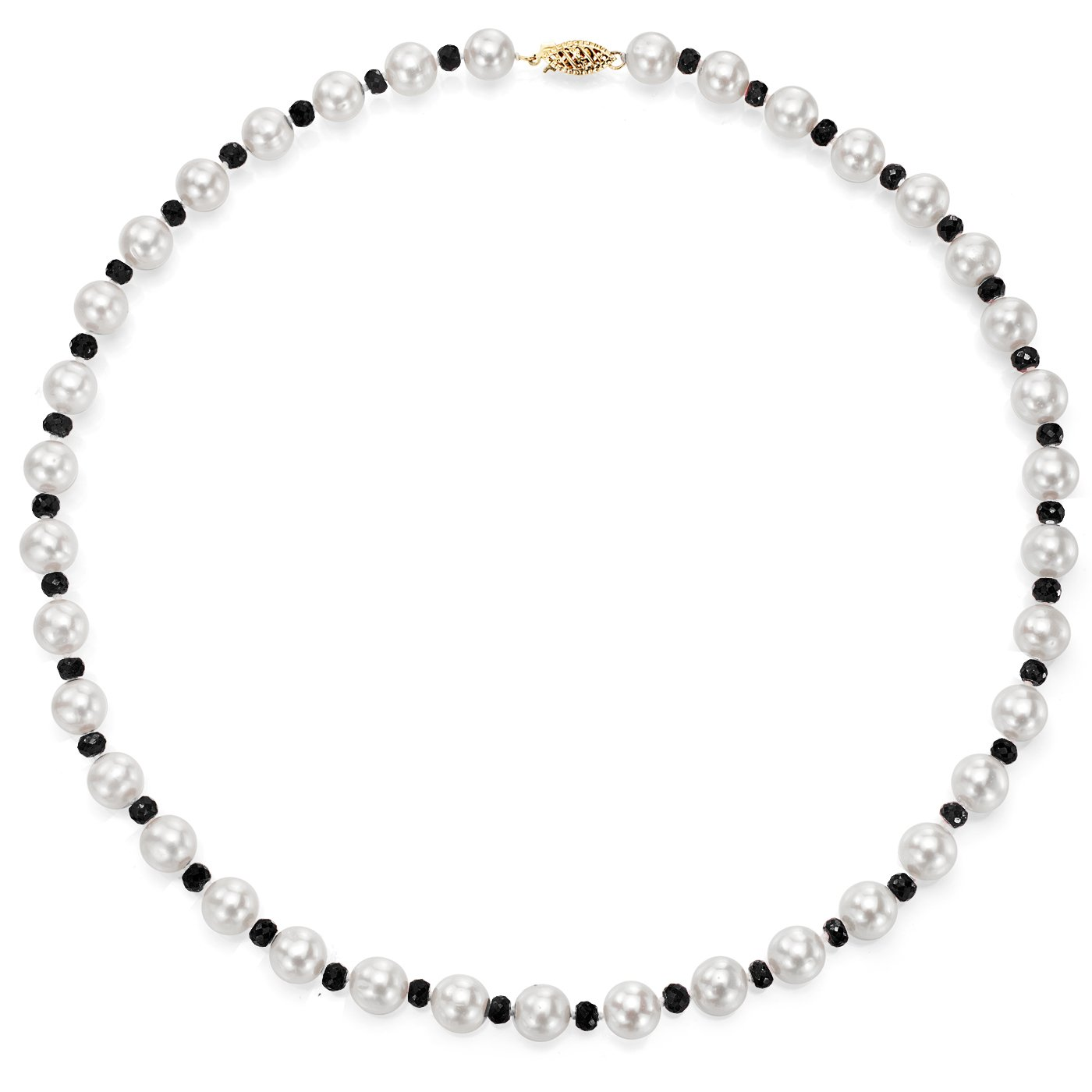 14k Yellow Gold 8-8.5mm White Freshwater Cultured Pearl and 4-4.5mm Simulated Onyx Necklace, 18''