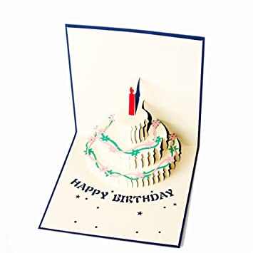 Buy 3D Happy Birthday Cake Pop Up Greeting Cards Blue Online At Low Prices In India
