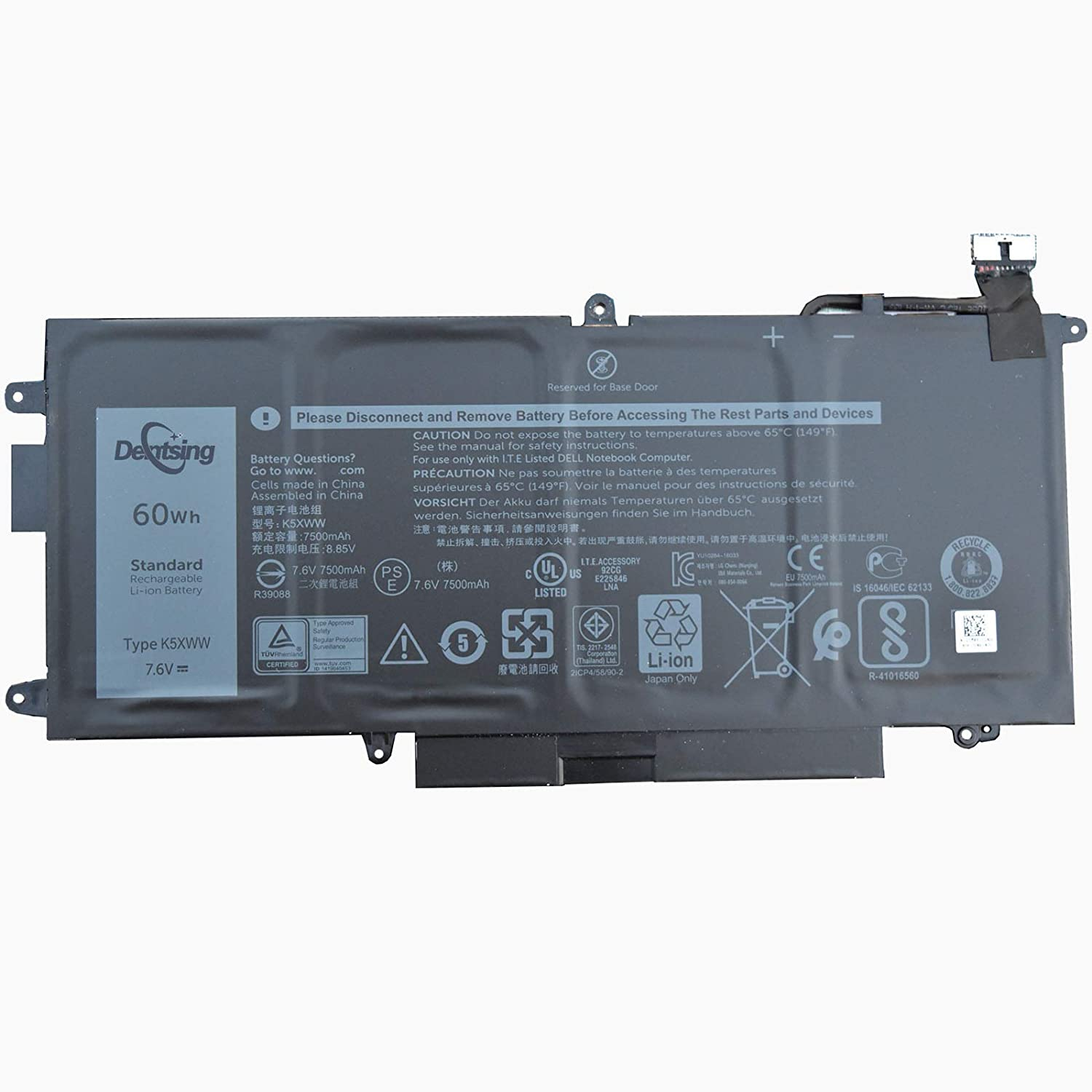 Dentsing 7.6V 60Wh/7500mAh 4-Cell K5XWW Laptop Battery Compatible with Dell Latitude 13 7389 7390 2-in-1 and 5289 2-in-1 Series Notebook 6CYH6 71TG4 725KY J0PGR N18GG