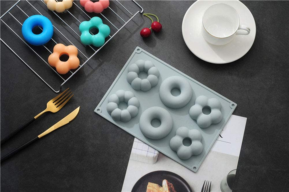 Doughnut Baking Tray for Cake Biscuit Bagels Muffins 6 Cavity, Blue + Pink Silicone Donut Molds Durable Kitchen Accessories 2 Pack Non-Stick Round Flower Donut Baking Pan