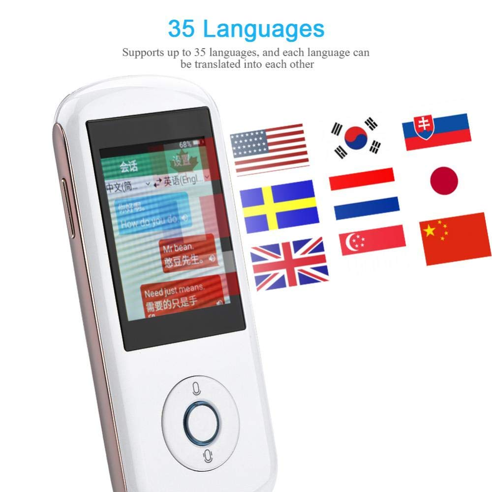 Eboxer Portable Intelligent Real-time Multi Language Translator Speech/Text Translation Device 2.4-inch Touch Screen Translator Support WiFi, SIM Card 35 Languages for Business Travel Shopping(White)