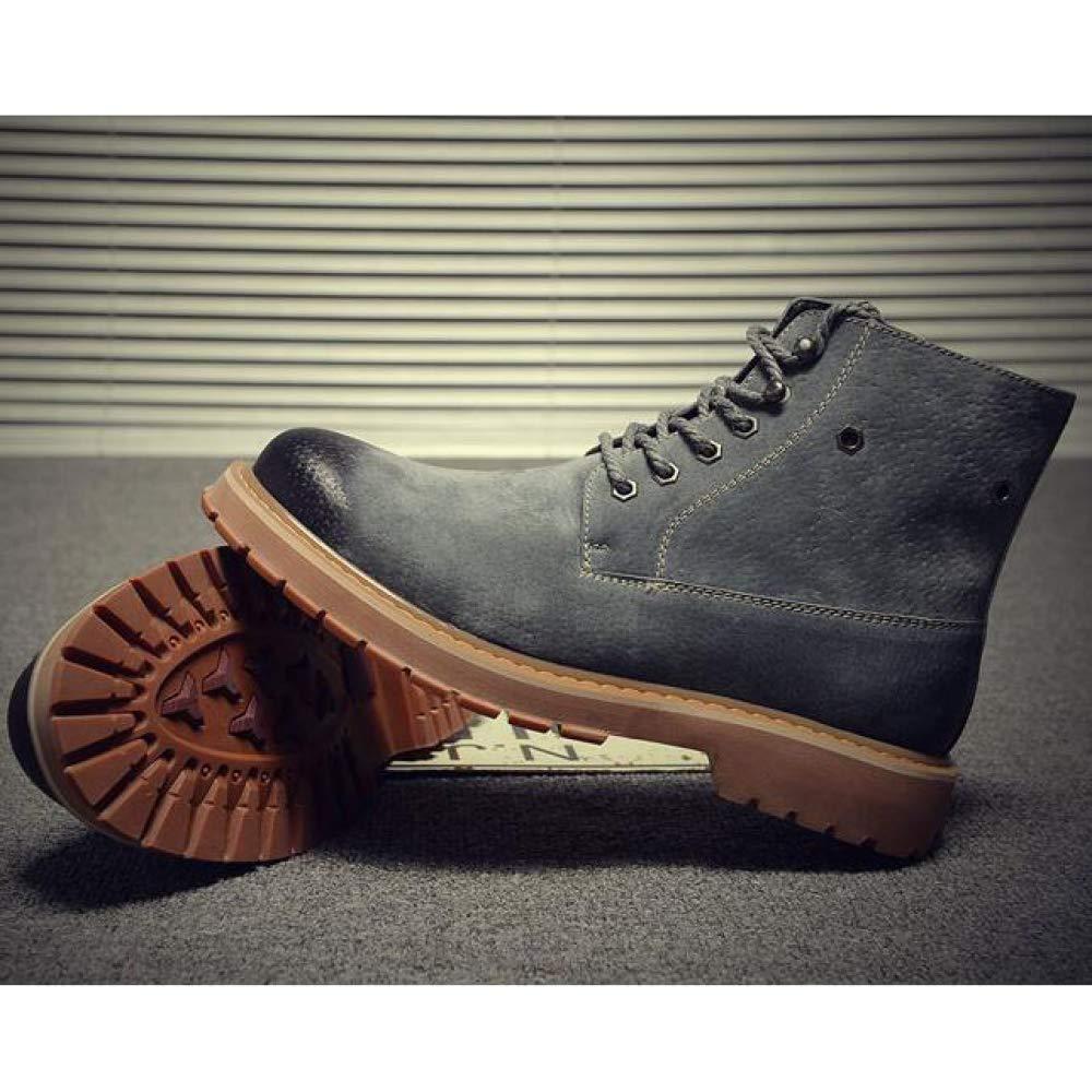 Herren Stiefeletten British Style Vintage Echtem Leder Lace up up up Martin Stiefel Lässige Schneeschuhe Desert Stiefel Grau 2e58f7