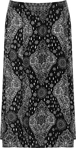 Plus Wearall Midi Taille Imprimer Noir tendue Jupe Motif Femmes Cachemire 44 Dames lastique 60 66zcr5Wg