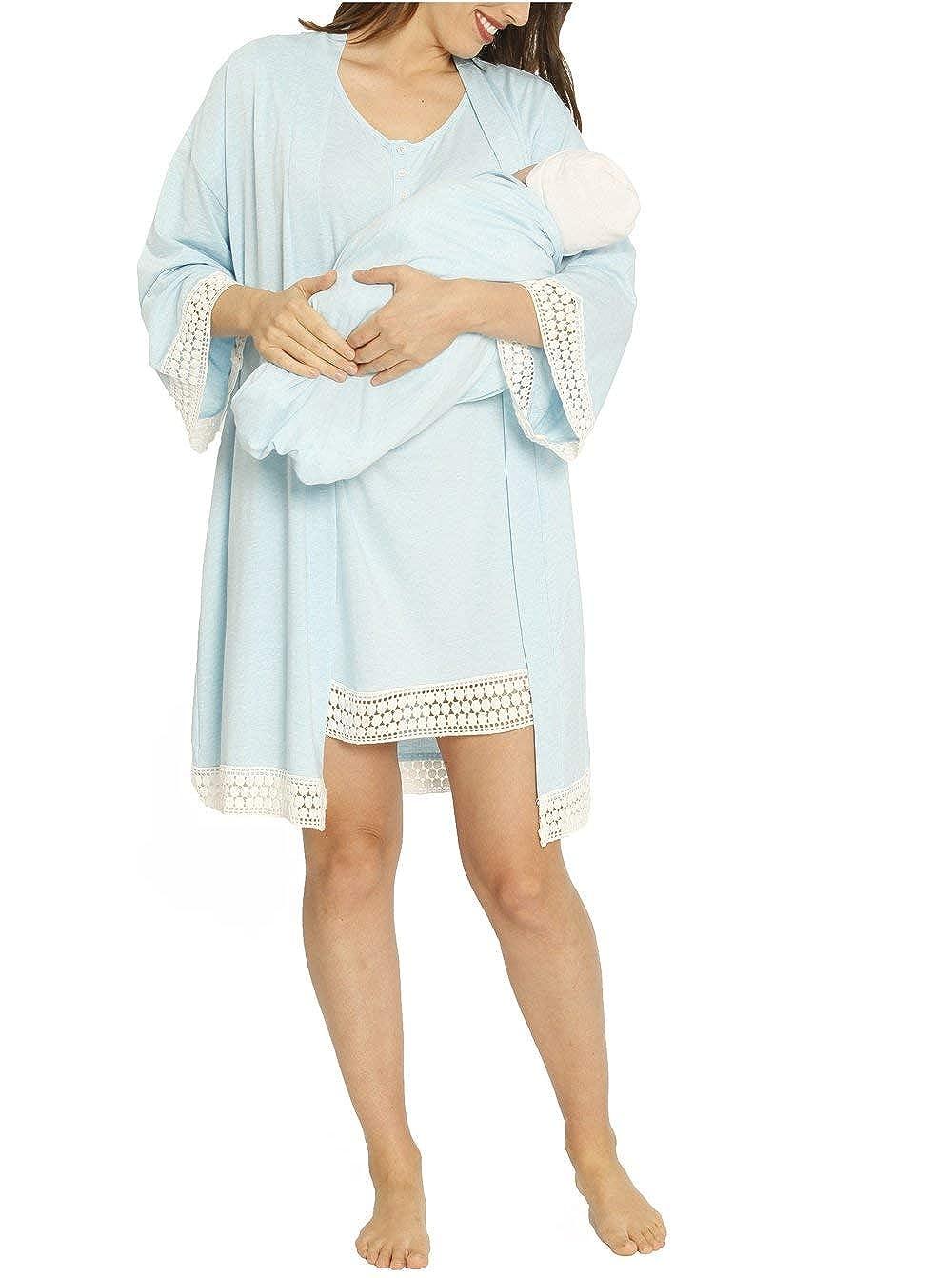 Angel Maternity - Hospital Pack Nursing Dress Hospital Robe + Receiving Baby Blanket Maternity and Nursing kit