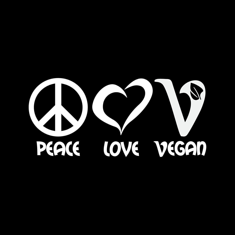 DecalDestination Peace Love Vegan Decal White Choose Size