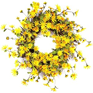 Melrose International Daisy Polyester Wreath 106