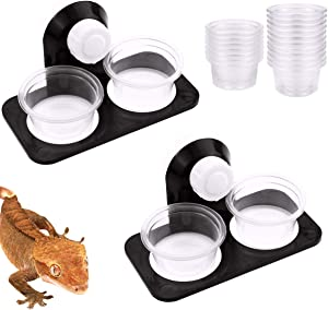 Fansunta Gecko Feeder Acrylic Improved Suction Cup Reptile Feeder with 10 Pack 1 oz Plastic Bowls for Reptiles Food and Water Feeding,Black