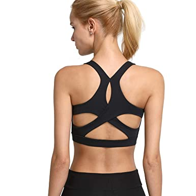 43a73f22850 Helisopus Women's Crisscross Back Yoga Gym Running Sports Bra Actives and  Fitness Tops