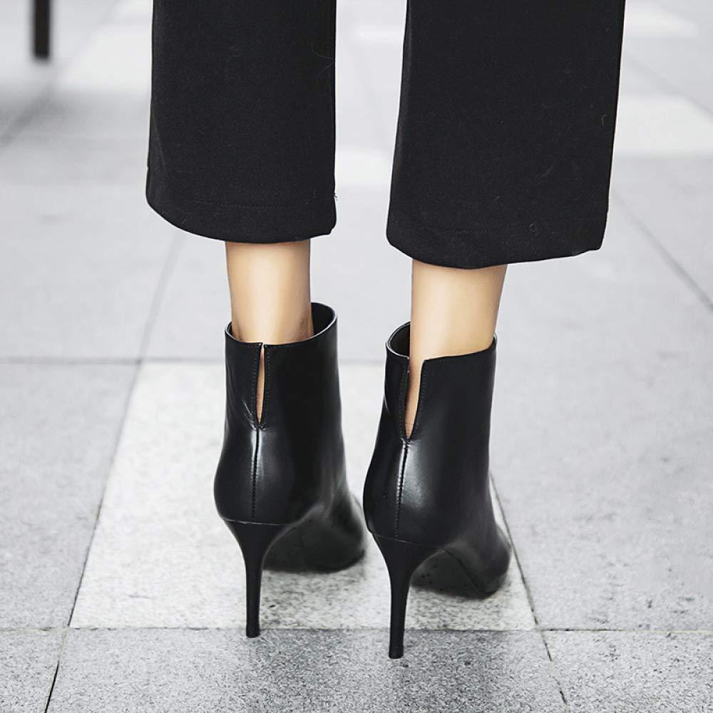 QINGMM Frauen Spitz Zehen Stiefel 2018 Herbst Glamouröse High High High Heel Stiefeletten,Schwarz,38 EU - 284cd2