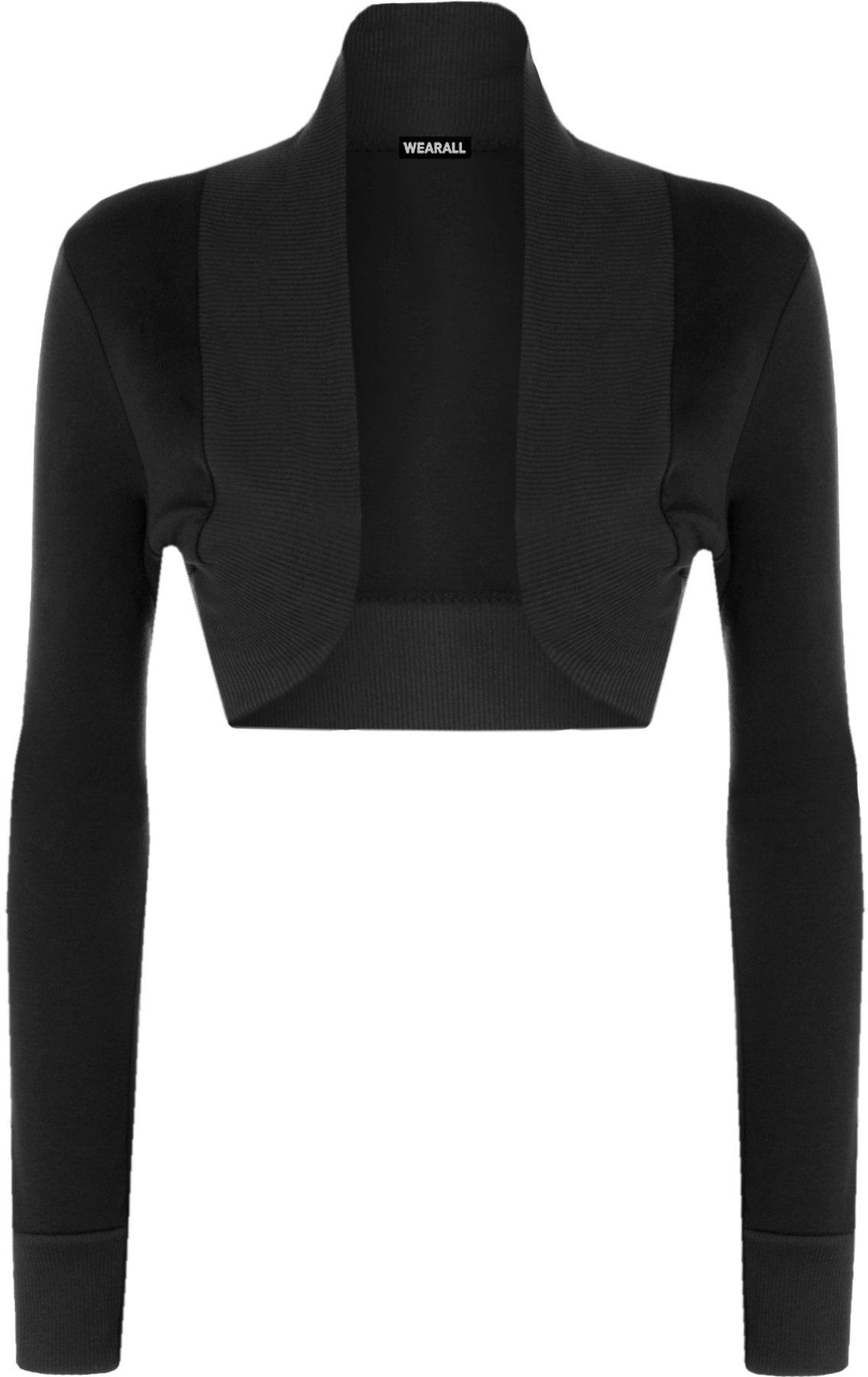 WearAll Women's Shrug Long Sleeve Ladies Bolero Top - Black - US 8-10 (UK 12-14)