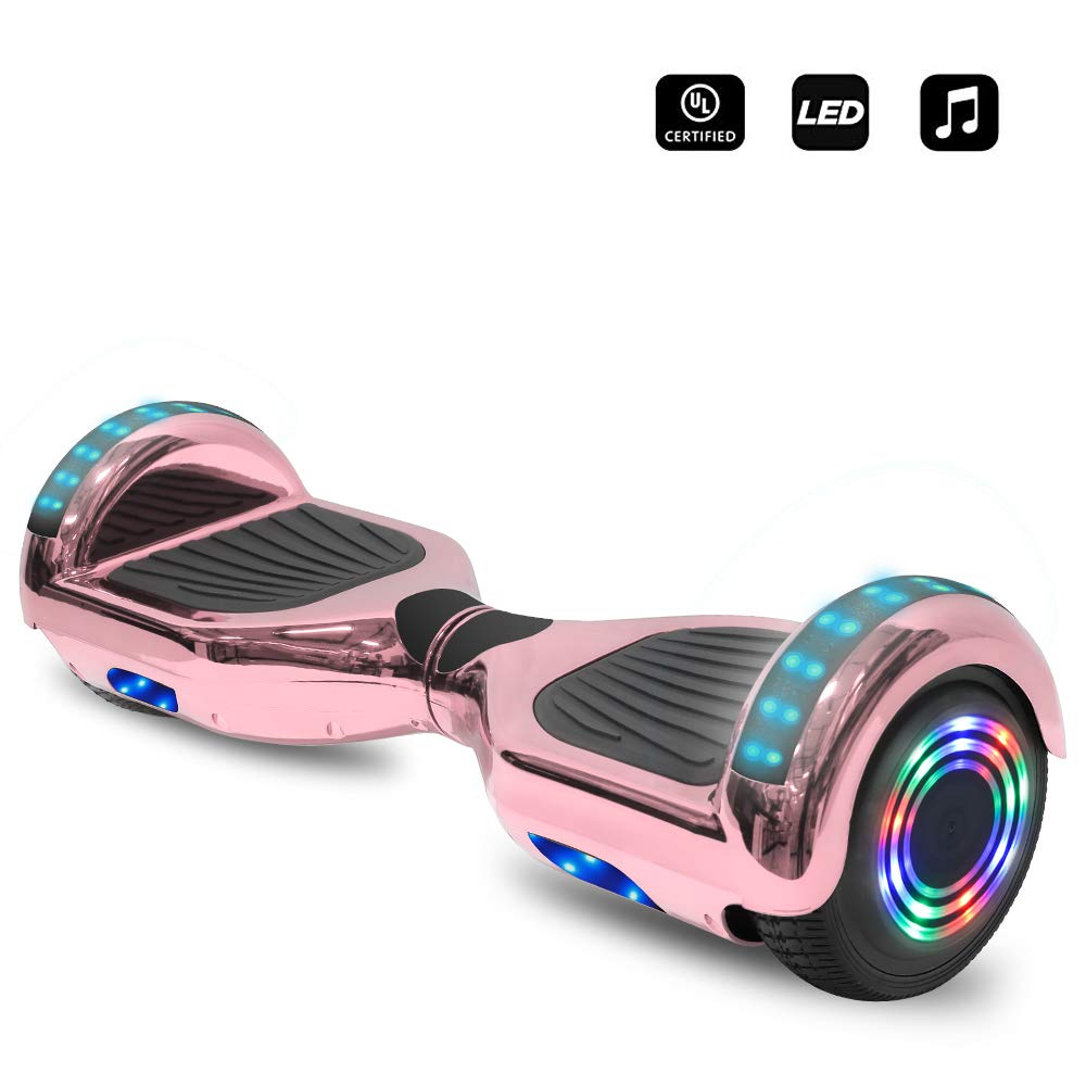 cho 6.5'' inch Wheels Electric Smart Self Balancing Scooter Hoverboard with Bluetooth Speaker LED Light - UL2272 Certified (Rose Gold) by cho