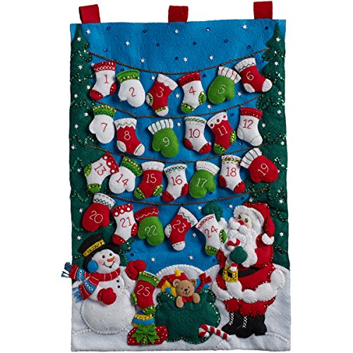 - Bucilla 86735 Felt Applique Advent Calendar Mittens and Stockings, Size 14.5 x 23.25-Inch