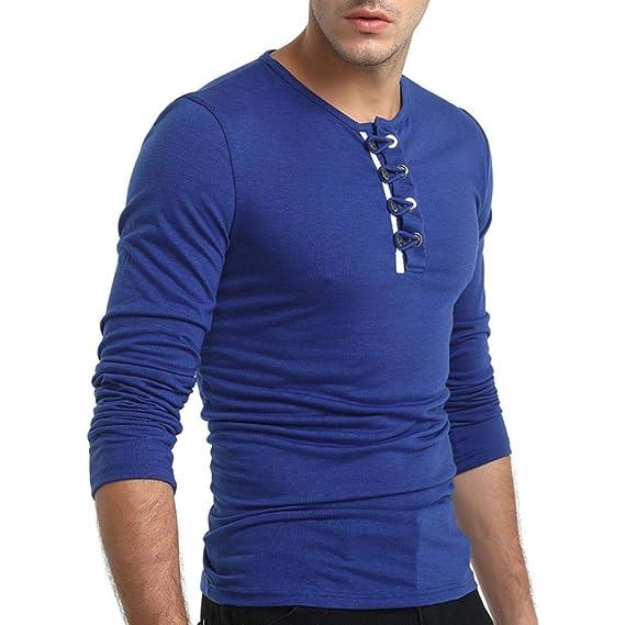 Camisetas de manga larga de hombre con botones de manga larga masculina o del toño de