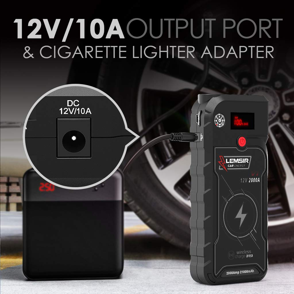 LEMSIR V1 QDSP 2000A Peak 21000mAh Car Jump Starter, Portable 12V Auto Battery Jumper up to 8.0L Gas, 8.0L Diesel, Booster Power Pack with Smart Jumper Cables,Wireless Charger by LEMSIR (Image #7)