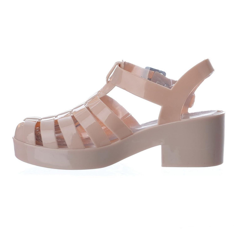 Nuovo, Da Donna Grosso Tacco Spesso Gladiatore Plateau Plastica Colorata Sandali Scarpe Numero - Corallo/fibbia, 4 Uk