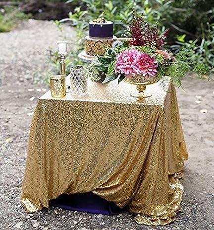 Sparkly Gold Sequin TableCloth 70x144 Inch Rectangle Wedding Glitz Sequin  Table Cloth