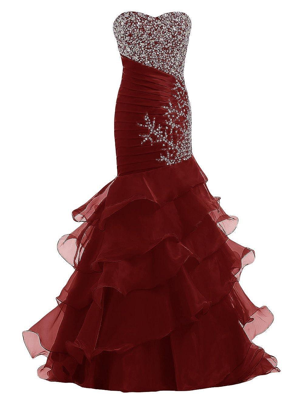 Burgundy YanLian Sweetheart Organza Mermaid Beaded Sequins Ruffles Long Prom Evening Dresses