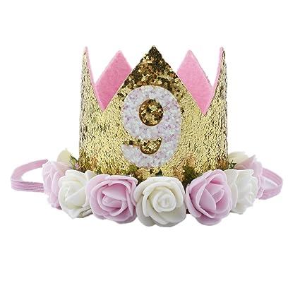 Missley Corona Rosa Flor Corona de Oro Corona de cumpleaños Princesa bebés Corona Cabeza Accesorios de Pelo (9)