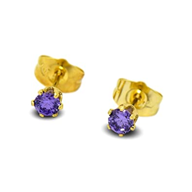 91e2e3d249655 Blue Diamond Club - Tiny 9ct Yellow Gold Filled Womens Stud Earrings Girls  Round Small 4mm Amethyst Crystals 6 Claws