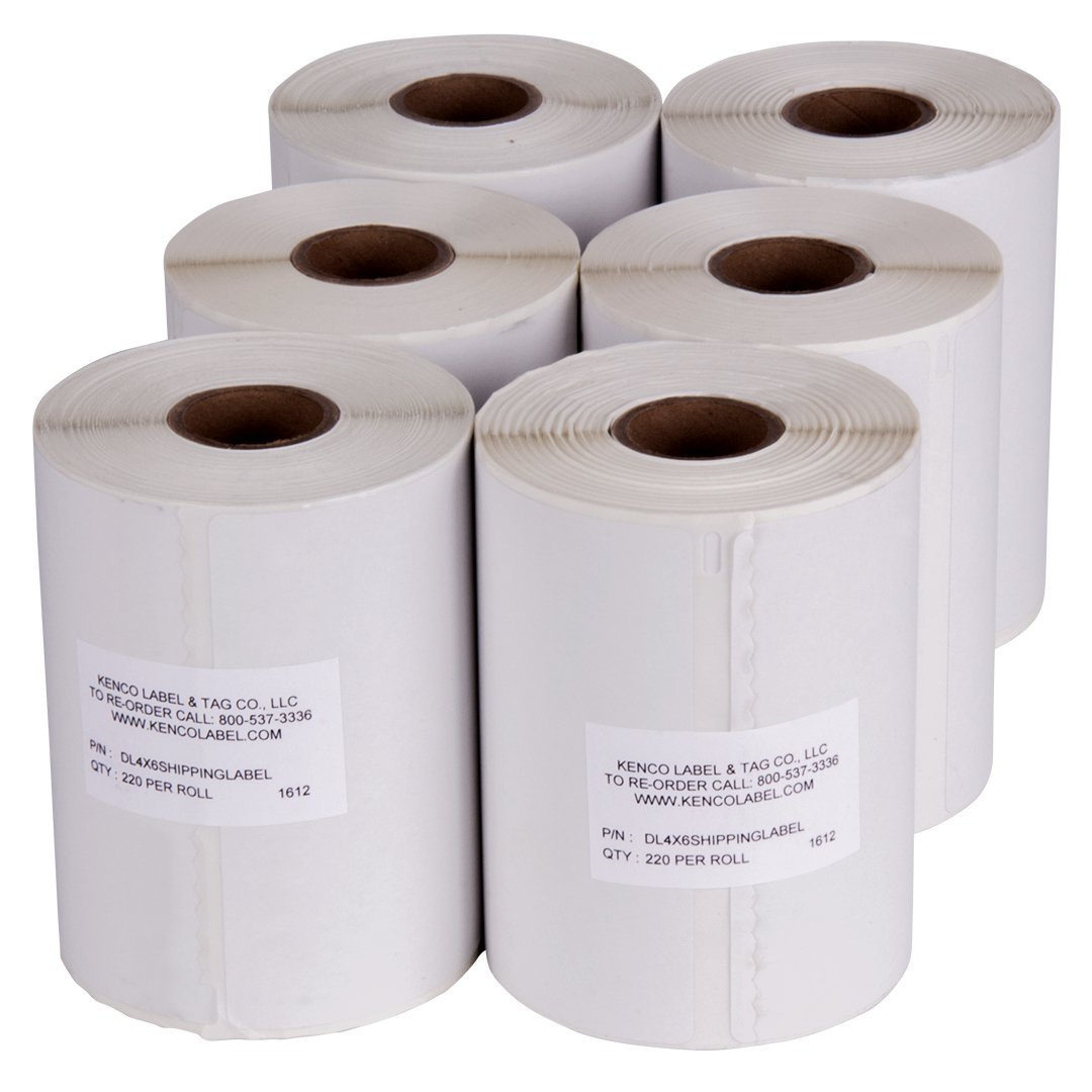 Dymo Compatible 1744907-4'' x 6'' Dymo 4XL Postage Shipping Labels (1 Roll - 220 Labels Per Roll) (6 Pack)