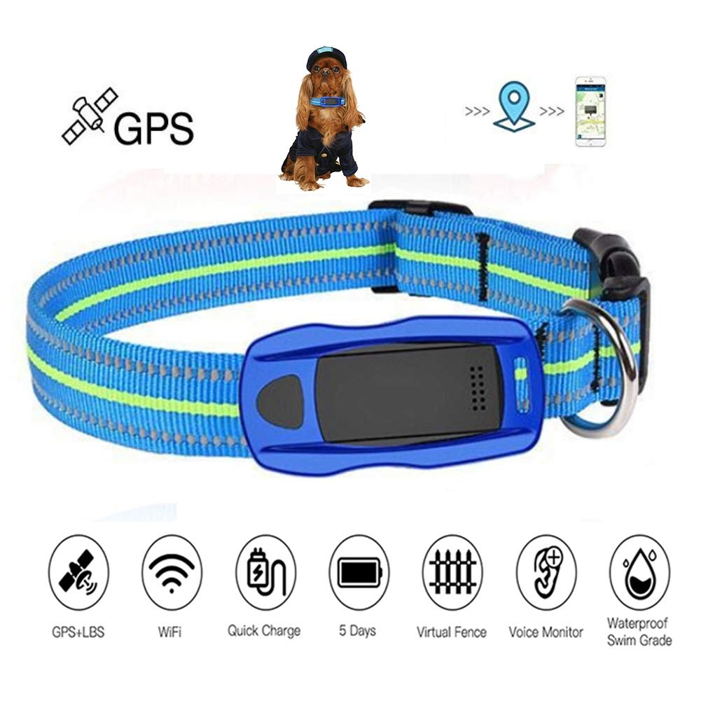 WLDOCA Pet GPS Tracker & Activity Monitor,Anti-Lost GPS/WiFi/LBS Lightweight Waterproof Real Time Tracker Collar for Dogs and Cats,Blue
