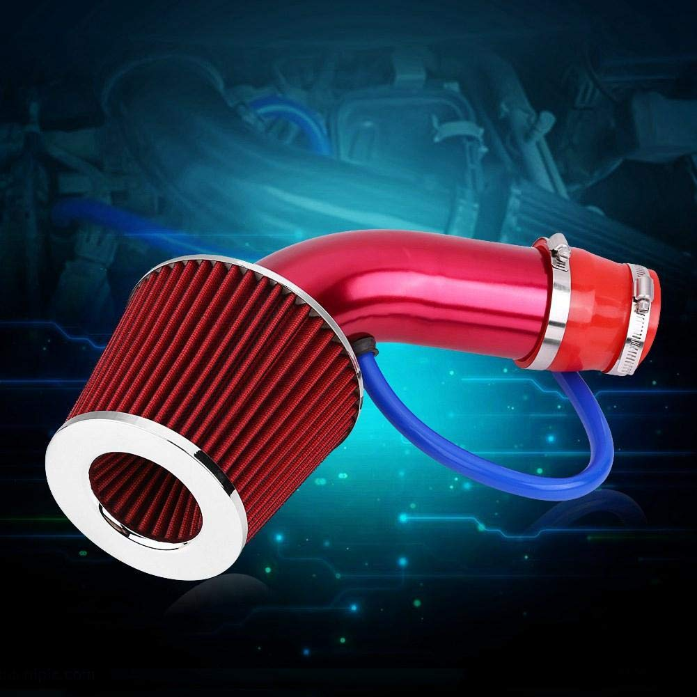 Red Cuque 76mm 3 Inch Cold Air Filter Cleaner Aluminum Induction Hose Pipe Kit Car Universal Aluminum Alloy Fiber Black Red Blue