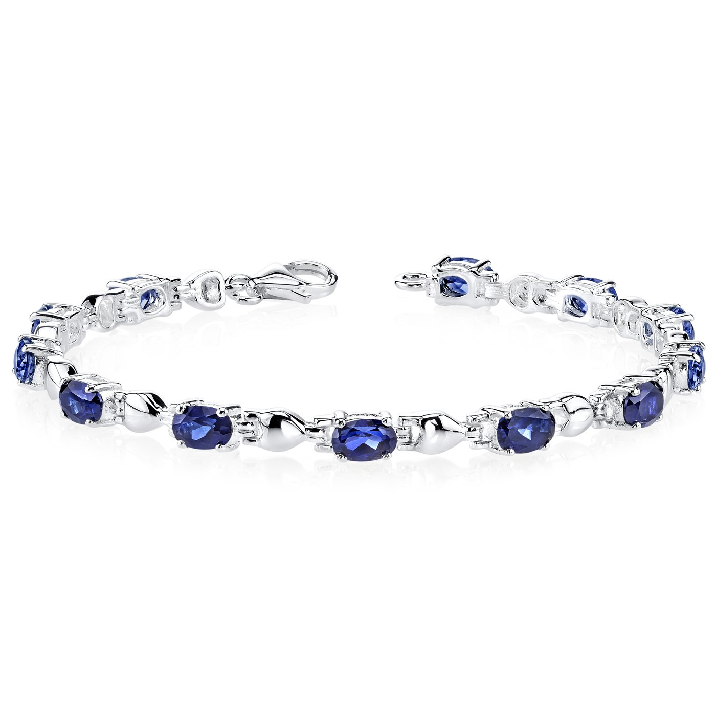 Exquisite Classic: Oval Shape Created Blue Sapphire Gemstone Bracelet in Sterling Silver Rhodium Nickel Finish by Peora (Image #1)