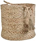 LR Home Montego Decorative Storage Basket, 19'' High, Natural Jute