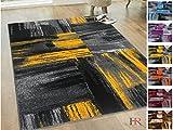 Handcraft Rugs - Yellow/Gray/Silver/Black/Abstract Contemporary Modern Design Mixed Vivid Splash Colors Area Rug