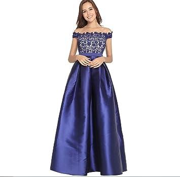 FXFAN Ms Vintage One Word Collar Vestido De Año Nuevo Vestido De Noche De Satén Vestido