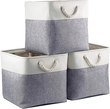 Mangata Cube De Rangement Tissu Panier Cube De Rangement Boite De Rangement Pliable Pour Jouets Vetement 33 X 33 X 33 Cm Lot De 3 Blanc Creme Amazon Fr Cuisine Maison