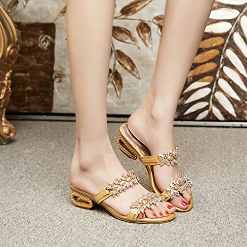 Crystal Women Flip Flops Rhinestone Shoes Party Heels Sexy Sandals Hatop Slipper High SfqwafOH