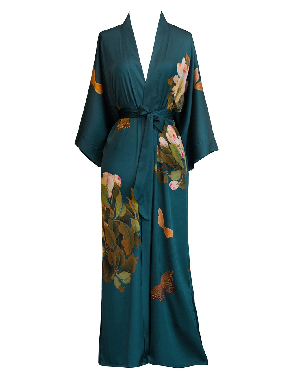 Old Shanghai Women's Kimono Robe Long - Watercolor Floral (Peony & Butterfly- Vintage Teal)