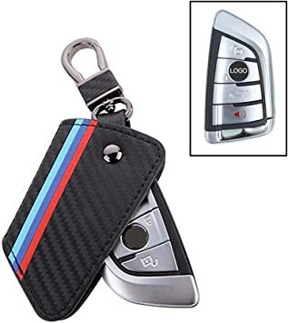 M-Colored Stripe Black Carbon Fiber Pattern Leather Key Holder with Keychain JKCOVER for BMW X1 X5 X6 5 Series 7 Series