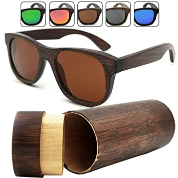 8989961333 iSunHot 1-Pack Brown Bamboo Wood sunglasses with Polarized UV Protection  Lens in Vintage Wayfarer
