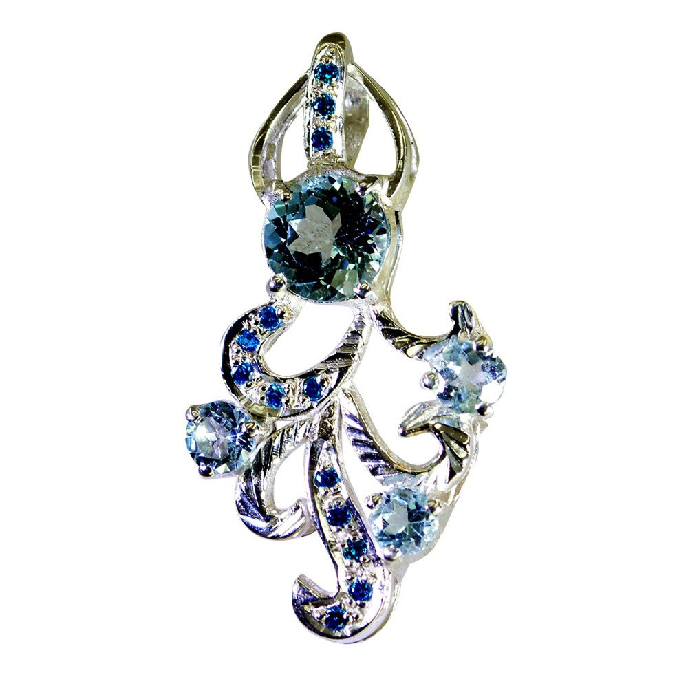 Jewelryonclick Genuine Blue Topaz Silver Pendant for Women December Birthstone Locket Handmade Jewelry