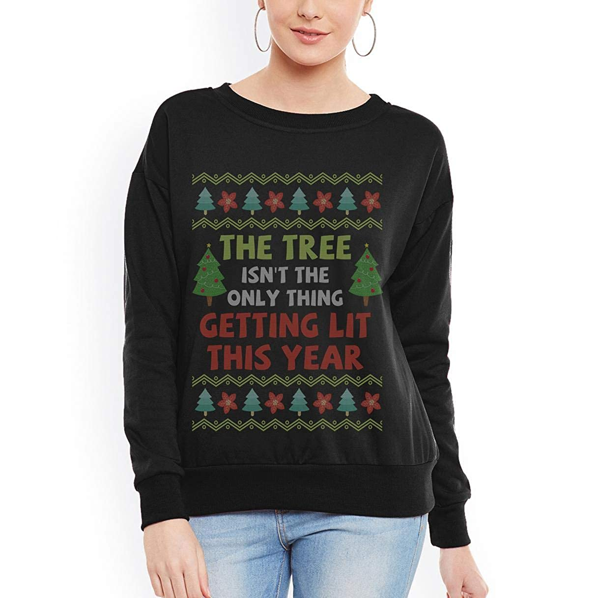 tee Doryti Beer Wine Ugly Christmas Tree Getting Lit Joke Unisex Sweatshirt