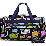 Sea Summer Whale Print Canvas 23'' Carry on Shoulder Duffle Bag