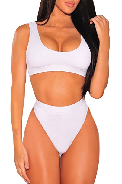 522ee07fa24 Pink Queen Women s Crop Top Scoop Neck High Waist Bikini Set Swimwear M  White