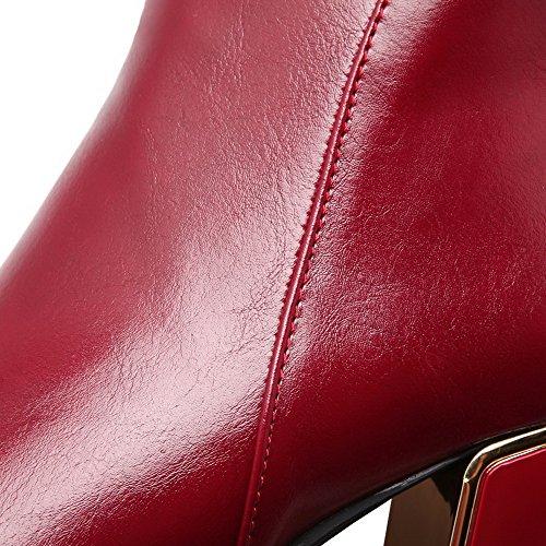 Agoolar Bas Vineux Couleur Femme Unie Talon Zip Haut Rouge Bottes Correct À gw1fFgcq6S