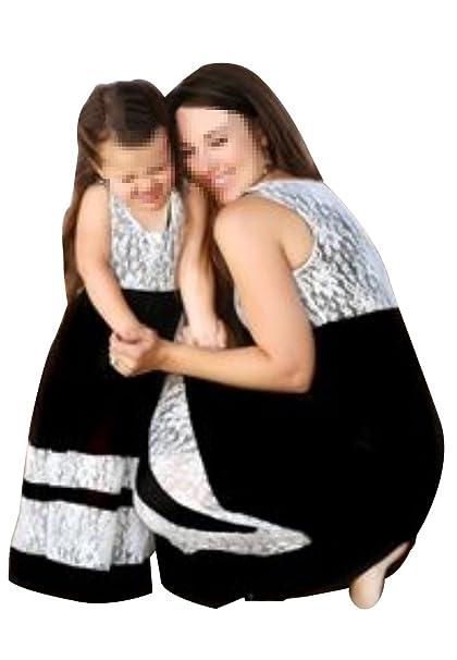 OMZIN Vestido de Costura de Rayas Madre y Hija Vestido de Playa Largo y Largo de