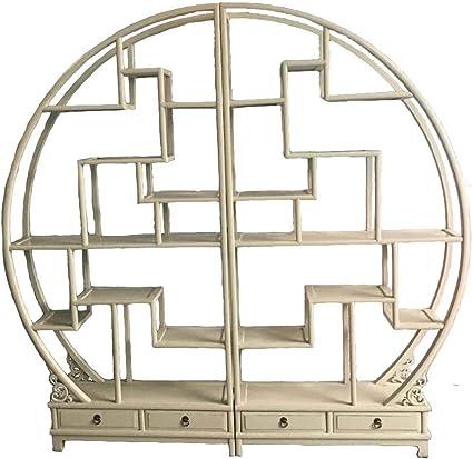 OPIUM OUTLET - Estantería Oriental Redonda, Estilo Colonial, de China, de Madera, Beige