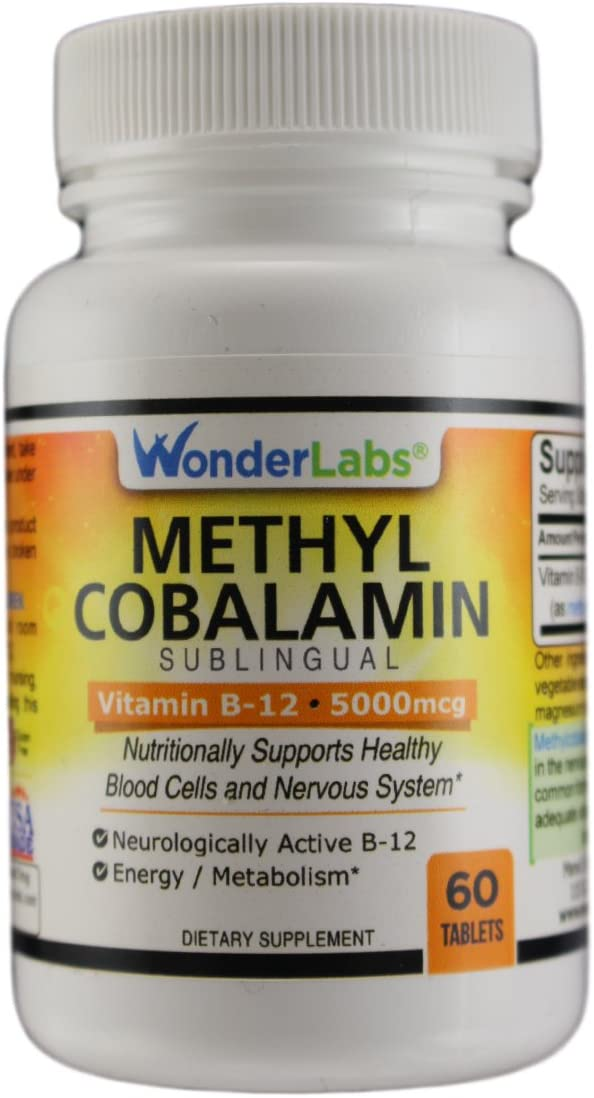 Methylcobalamin B12, Sublingual Vitamin B-12 5000mcg - 60 Tablets