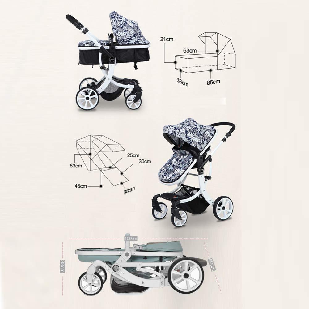 rueda de goma el beb/é puede sentarse o acostarse plano 0-3 a/ños marco de aluminio Color : A Yankuoo Sistema de viaje 3 en 1 cochecito plegable