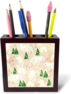 3dRose Anne Marie Baugh - Christmas - Cute Pink and White Polar Bears and Christmas Trees Pattern - 5 inch Tile Pen Holder (ph_325407_1)