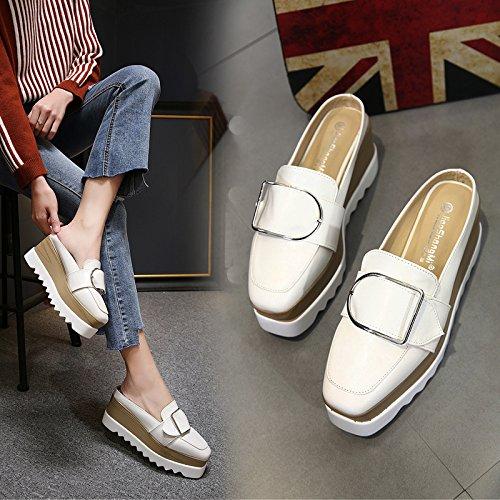 Xing Lin Sandalias De Mujer Verano De Tacón Alto Nuevo Half-Flip Sandalias Zapatos De Media Longitud Calzado Casual Un Pedal Baotou Zapatillas white
