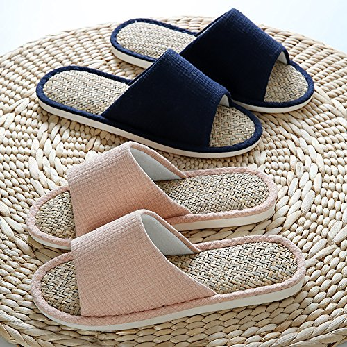 Flax Straw Casual Beige toe Open Cotton Linen Unisex Magilona Sole Shoes Slippers slip Women Non Soft Mens Home Weaving pn7HqwARO