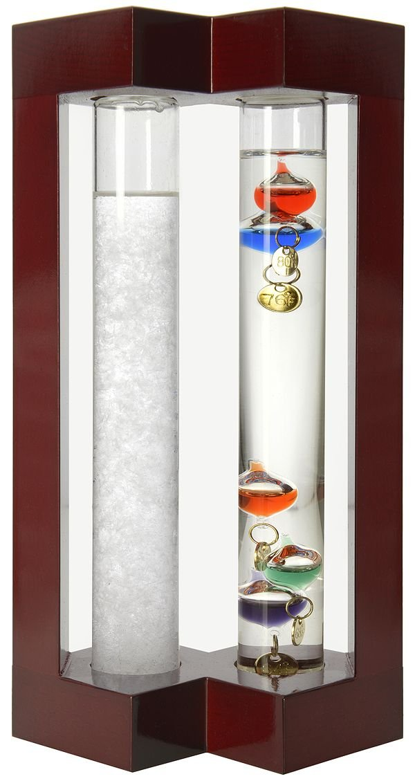Lily's Home Desktop Weather Station, with Galileo Thermometer and Fitzroy Storm Glass Weather Predictor, 5 Multi-Colored Spheres